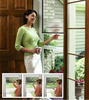 Larson introduced the first storm door with a disappearing retractable  screen and counter-balanced window system. With one touch, the