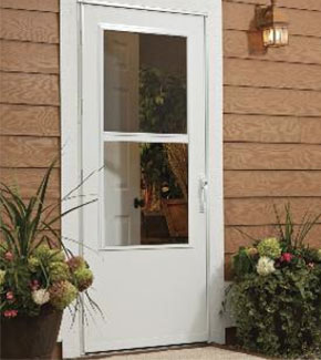 White security storm door