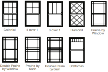 Double Hung 4000 Series Window Standard Grid Patterns