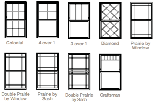 Double Hung 6000 Series Window Standard Grid Patterns